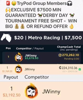 TRYPOD $7500 DERBY DAY TOURNEY FREE ROLL OFFER